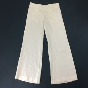 Elevenses White Linen Sailor Wide Leg Trousers